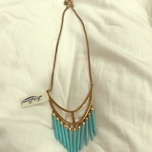 LUCKY BRAND gold and teal necklace